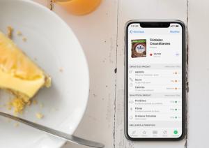 assiette, dessert, gâteau, smartphone, application, Yuka