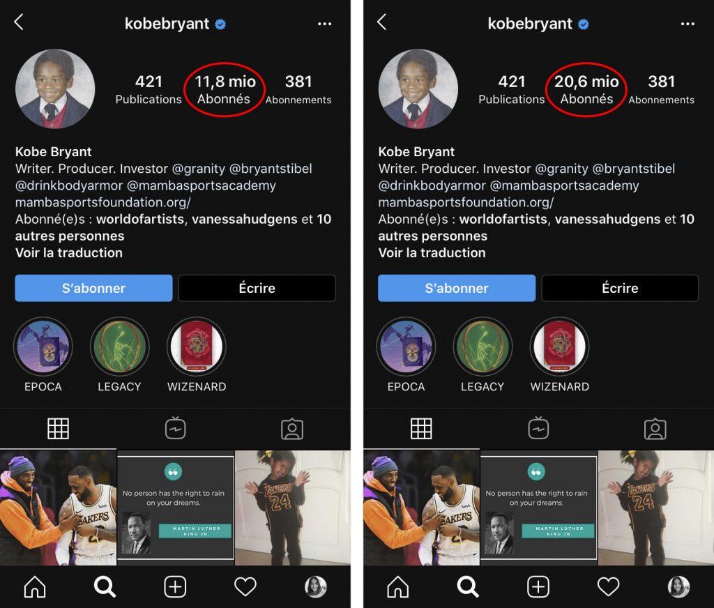 Kobe Bryant instagram comparaison