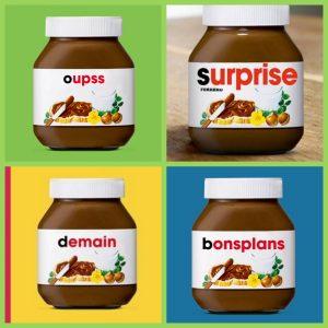 Exemples d'étiquettes personnalisées Nutella