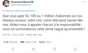 Tweet d'Emmanuel Macron dans le cadre du Covid