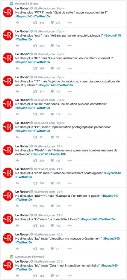 Tweets du CM Le Robert pour mieux parler sur Twitter