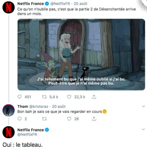 Réponse CM Netflix à un élève