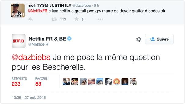 Réponse CM Netflix à des fautes de français