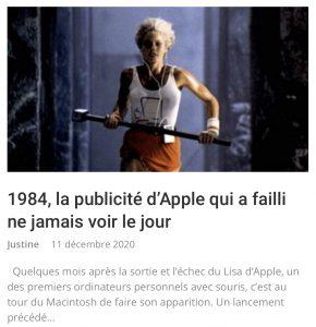 Article Apple publicité 1984