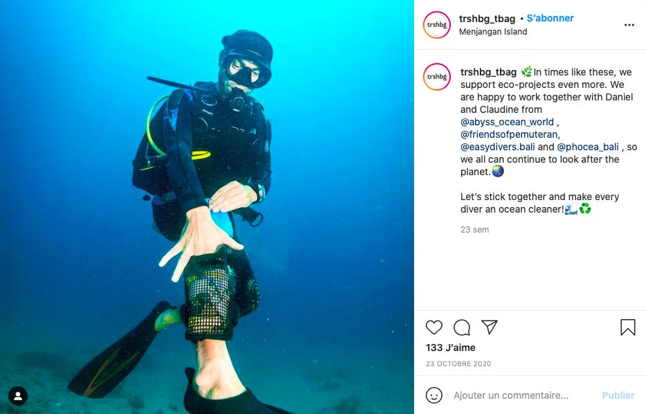 Capture d'écran de la page Instagram Trshbg Ocean Cleaner